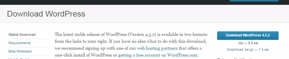Download specific version of WordPress