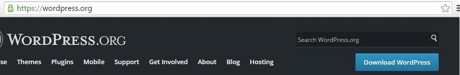 Download WordPress button on the WordPress.org site