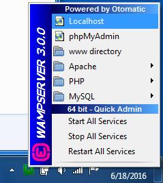 WAMP Localhost Menu Option