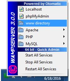 WAMP www Directory Menu
