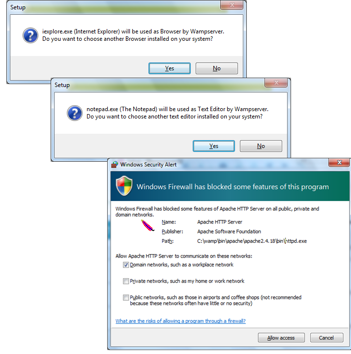 WAMP Allow IE, NotePad, and Apache