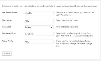 Wordpress Install Details
