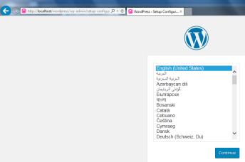 wordpress install language select