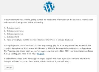 Wordpress Install Start