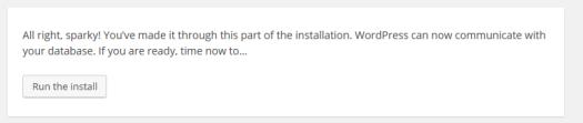 Wordpress Run the Install Screen