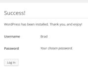 Wordpress success! Install screen